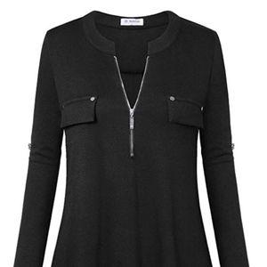 Tops - Women's Zip Front V Neck 3/4 Sleeve Tunic
